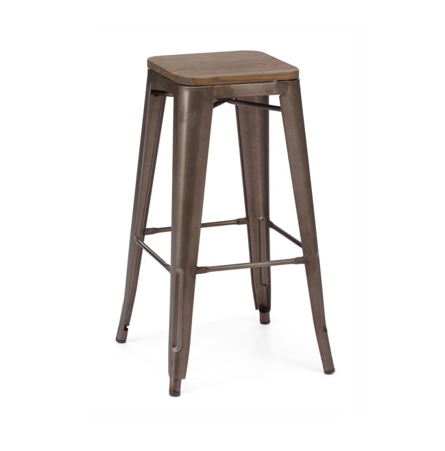 Enjoyable Rusted Finish Tolix Bar Stool Wood Seat Hospitality Chairs Pabps2019 Chair Design Images Pabps2019Com