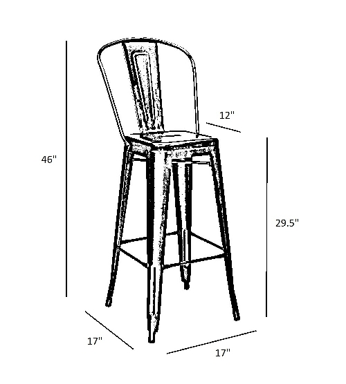 raven black metal high back tolix bar stool hospitality chairs