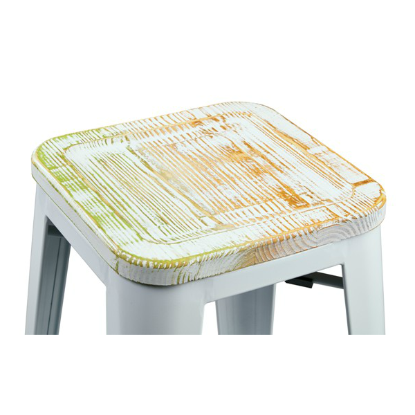 White Tolix Bar Stool With Yellow Weathered Seat U2013 Hospitality Chairs U2013  Hospitalitychairs.com