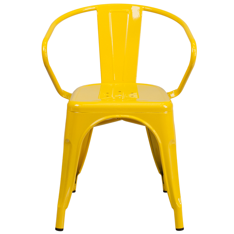 Vibrant Yellow Galvanized Tolix Arm Chair In Outdoor U2013 Hospitality Chairs U2013  Hospitalitychairs.com