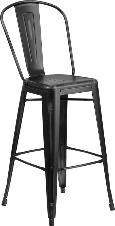 Worn Black High Back Tolix Bar Stool Wide Seat U2013 Hospitality Chairs U2013  Hospitalitychairs.com