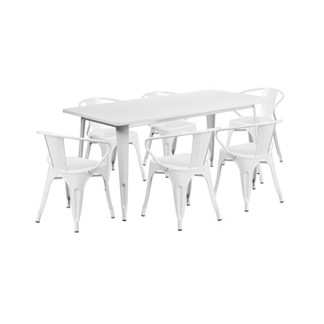 White Tolix Outdoor Patio Arm Chairs And Table 31.5 X 63 U2013 7 Piece Set U2013  Hospitality Chairs U2013 Hospitalitychairs.com