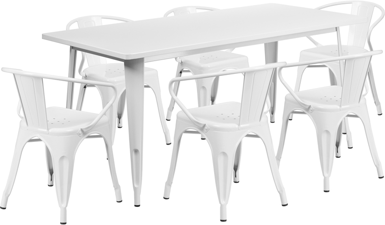White Tolix Outdoor Patio Arm Chairs And Table 315 X 63 7 Piece Set