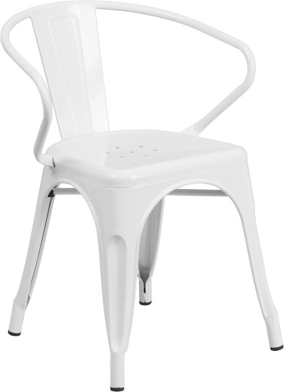 White Tolix Outdoor Patio Arm Chairs And Table 31.5 X 63 U2013 7 Piece Set U2013  Hospitality Chairs U2013 Hospitalitychairs.com