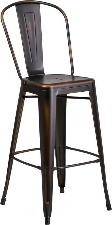 Wondrous Dark Copper Weathered High Back Tolix Bar Stool Dailytribune Chair Design For Home Dailytribuneorg