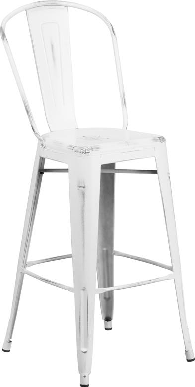 Astounding New White Weathered High Back Tolix Bar Stool Hospitality Dailytribune Chair Design For Home Dailytribuneorg