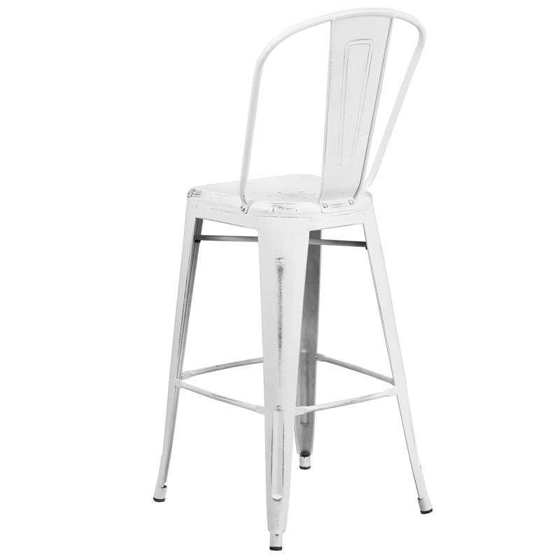 New White Weathered High Back Tolix Bar Stool U2013 Hospitality Chairs U2013  Hospitalitychairs.com