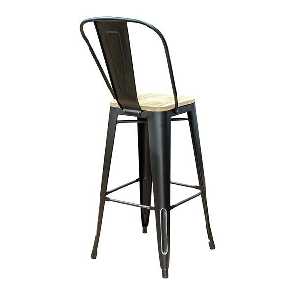 Stupendous Black Weathered High Back Wood Seat Tolix Bar Stool Forskolin Free Trial Chair Design Images Forskolin Free Trialorg